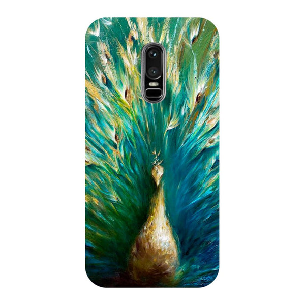 Peacock painting- Printed Hard Back Case Cover for OnePlus 6