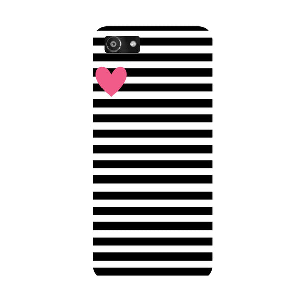 Hamee- Stripes heart-Printed Hard Back Case Cover For Oppo RealMe 1