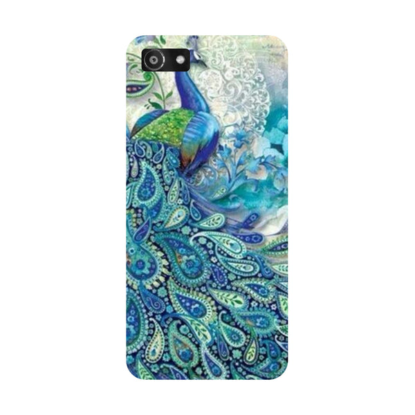 Hamee- Blue peacock-Printed Hard Back Case Cover For Oppo A3