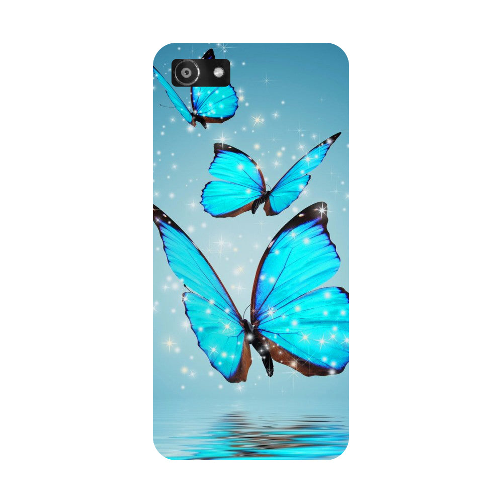 Hamee- Blue Butterflies-Printed Hard Back Case Cover For Oppo RealMe 1