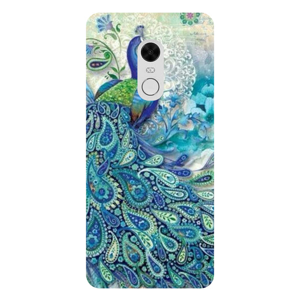 Blue Peacock - Printed Hard Back Case Cover for Redmi Note 5