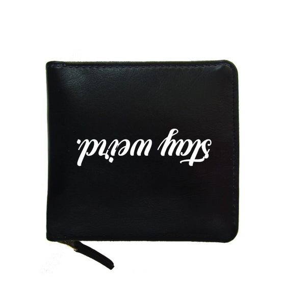 PU Leather Black Zip Wallet- Stay Weird-Hamee India