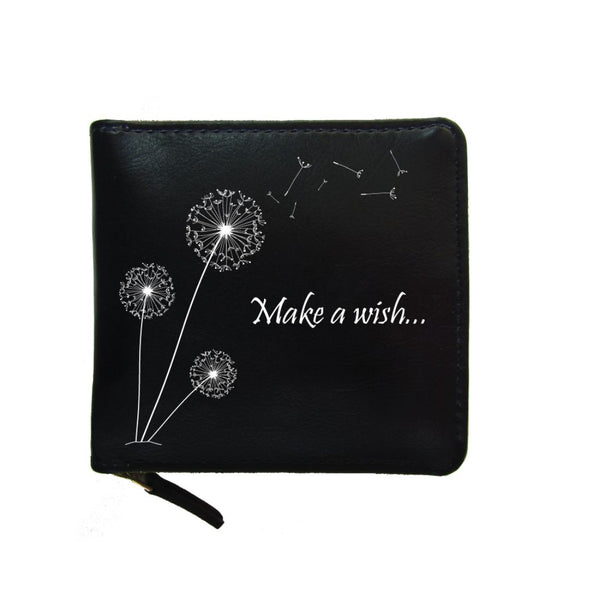 PU Leather Black Zip Wallet- Make A Wish-Hamee India