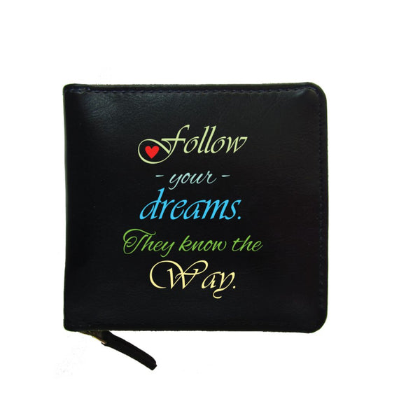 PU Leather Black Zip Wallet- Follow Your Dreams-Hamee India