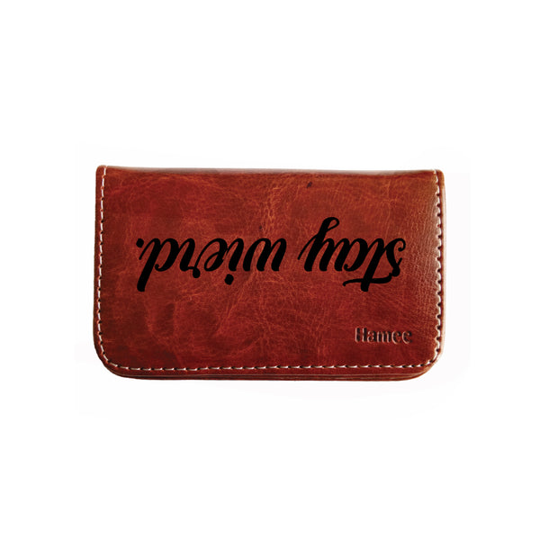 Leather visiting card holders and cases online at best prices hamee pocket sized stitched leather visiting card case holder business card and credit card holder reheart Image collections