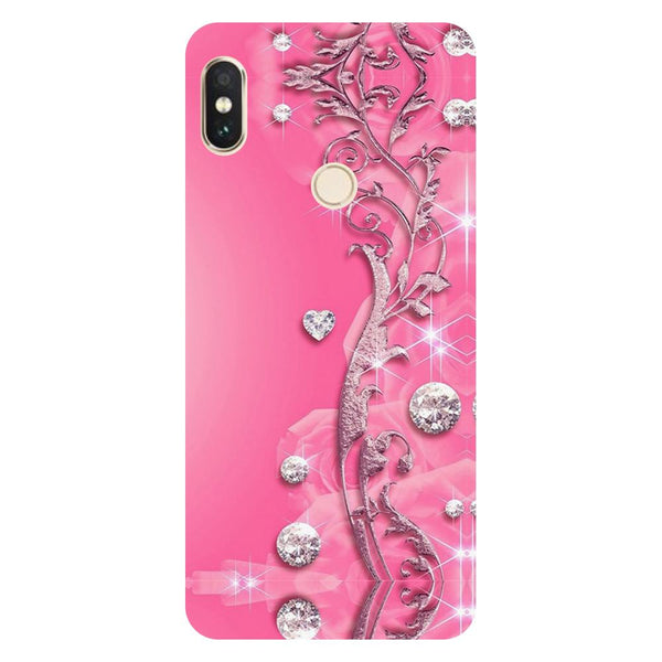 Pink Crystals Redmi 6 Pro Back Cover-Hamee India