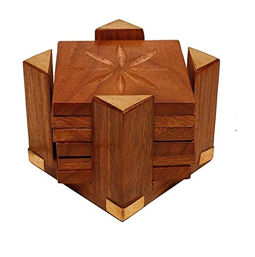 Wooden Coaster Set with Pillar Stand (6 Coasters)-Hamee India