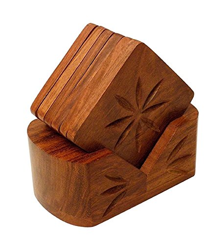 Wooden Retro Wood Coaster Set (6 Coasters)-Hamee India