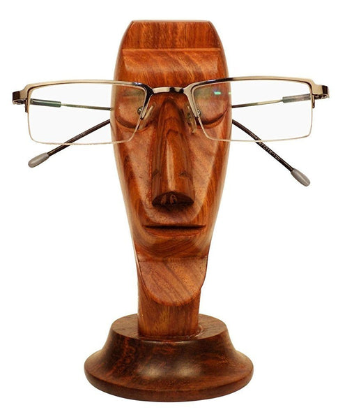 Handmade Face Shaped Classic Vintage Type Wooden Eyeglass Holder-Hamee India