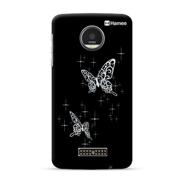 Hamee Official - Black Sparkles - Lafula Designer Printed Hard Back Case for Moto E4