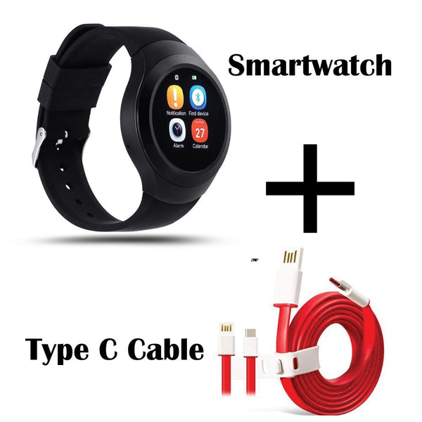 Hamee Chromtech Bluetooth Smart Watch with Free Type C Dash Charging Cable compatible for OnePlus 3T / OnePlus 3-Hamee India