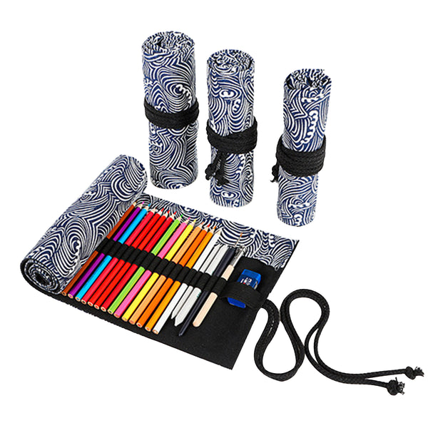 Waves Canvas Pencil Wrap Case-Hamee India