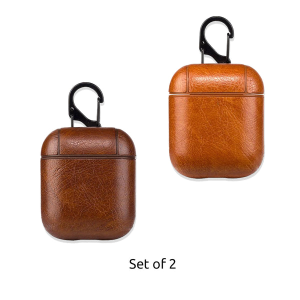 Leather Airpods Case - Tan Brown & Dark Brown-Hamee India