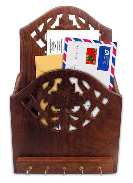 Wooden Letter Organizer / Rack with Key Hooks-Hamee India