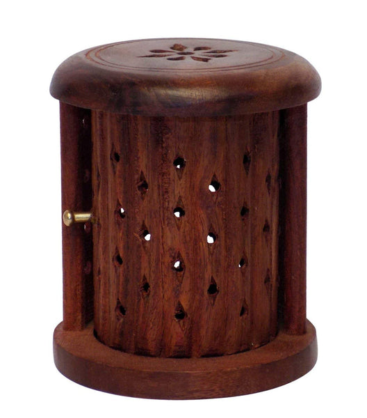 Wooden Carved Incense Stick and Cone Holder with Shutter-Hamee India