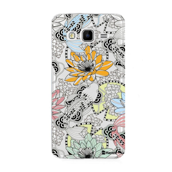 Hamee Black Outline Colour Flowers Designer Cover For Samsung Galaxy J7 - Hamee India