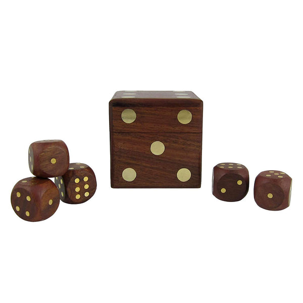 Wooden Square Dice Box Storage Case with 5 Dice Game Set - Brown-Hamee India