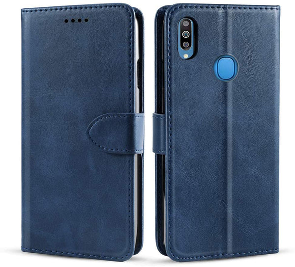 PU Leather Flip Cover for Samsung Galaxy M30s (Dark Blue)