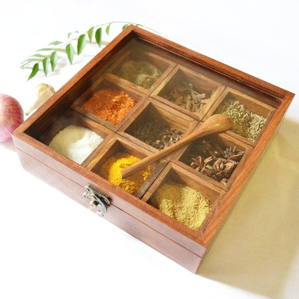 Wooden Spice Rack / Dry Fruit Container with Spoon (9 Containers)-Hamee India