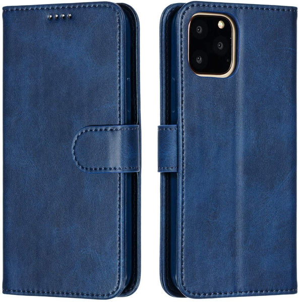 PU Leather Flip Cover for iPhone 11 (Dark Blue)