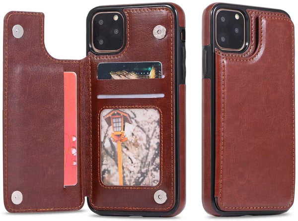 Leather Flip Cover Wallet Case for iPhone 11 (Brown)