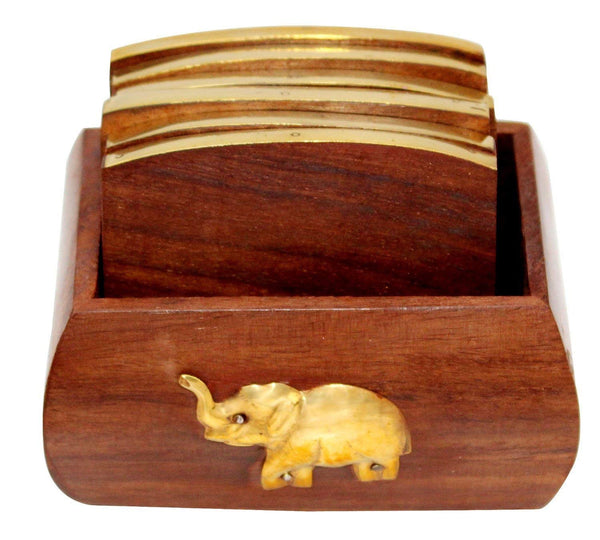 Wooden Coaster Set with Elephant Design (6 Coasters)-Hamee India