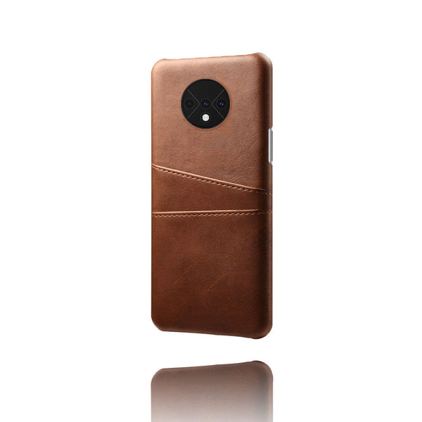 Leather Card Pocket Back Cover for OnePlus 7T (Dark Brown)