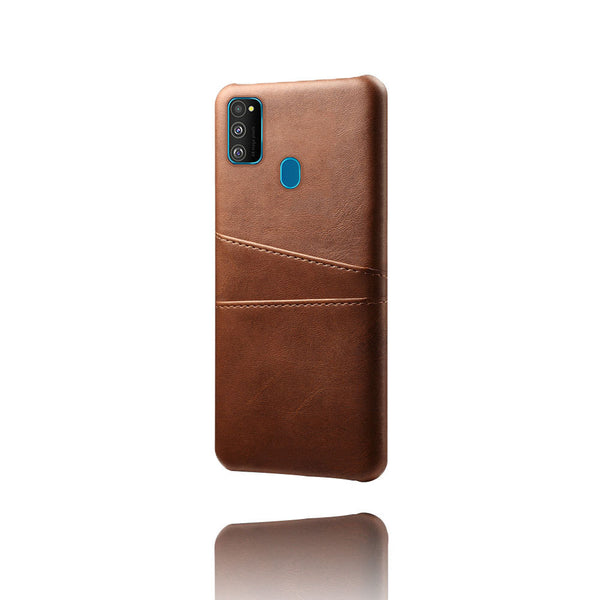 Leather Card Pocket Back Cover for Samsung Galaxy M30s (Dark Brown)