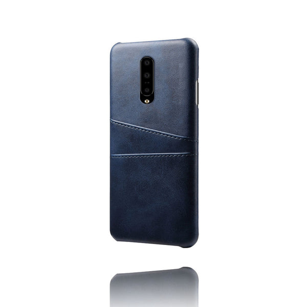 PU Leather Card Pocket Back Cover for OnePlus 7 (Blue)-Hamee India
