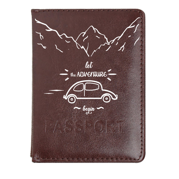 Adventure Begin - Dark Brown PU Leather Passport Wallet / Holder