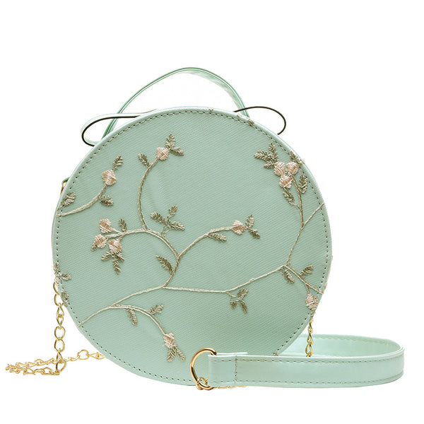 Embroidered Cross Body Sling Bag - Green Flowers
