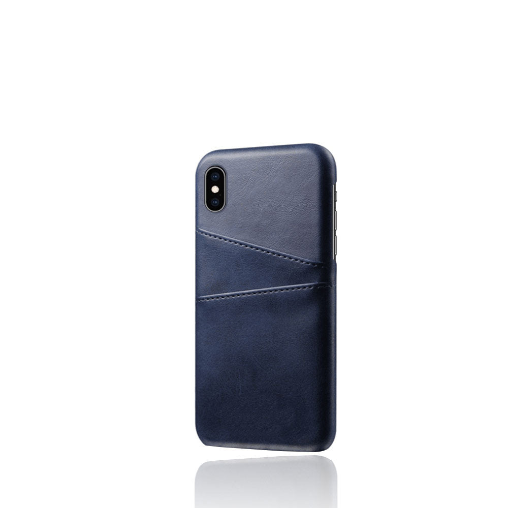PU Leather Card Pocket Back Cover for iPhone X (Blue)