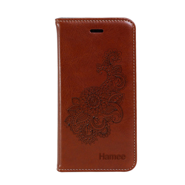 Hamee - Design 1 - Premium PU Leather Flip Diary Card Pocket Case Cover Stand for Moto Z2 Play