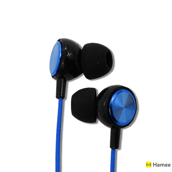 Dark Blue - Long Cord Coil Earphones with Mic (1.5 m)