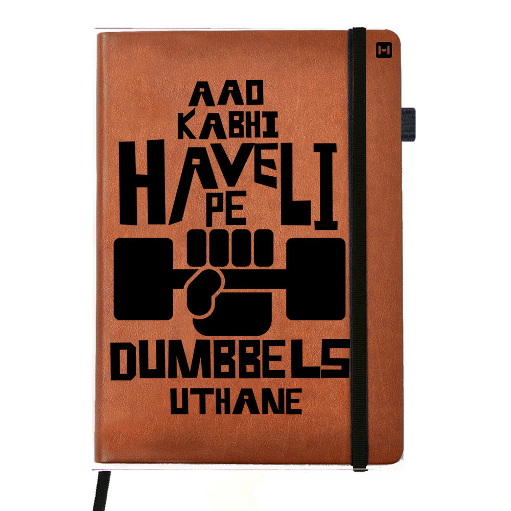 Obsessed with Dumbells - Tan Brown Notebook-Hamee India