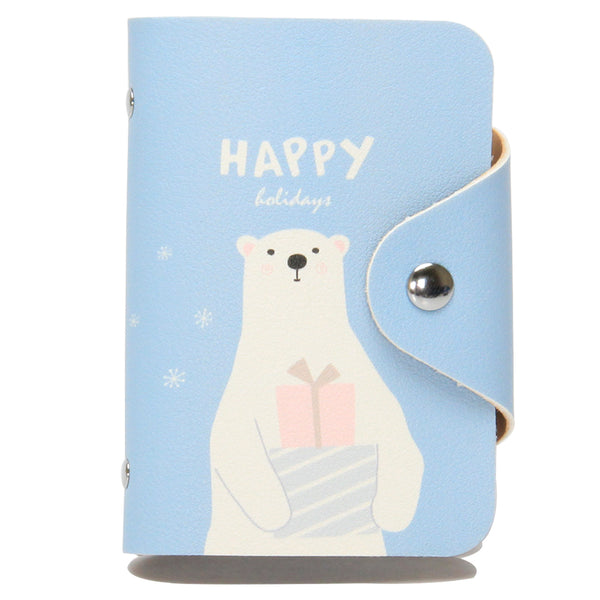 Blue Happy Bear - Flap Card Holder-Hamee India
