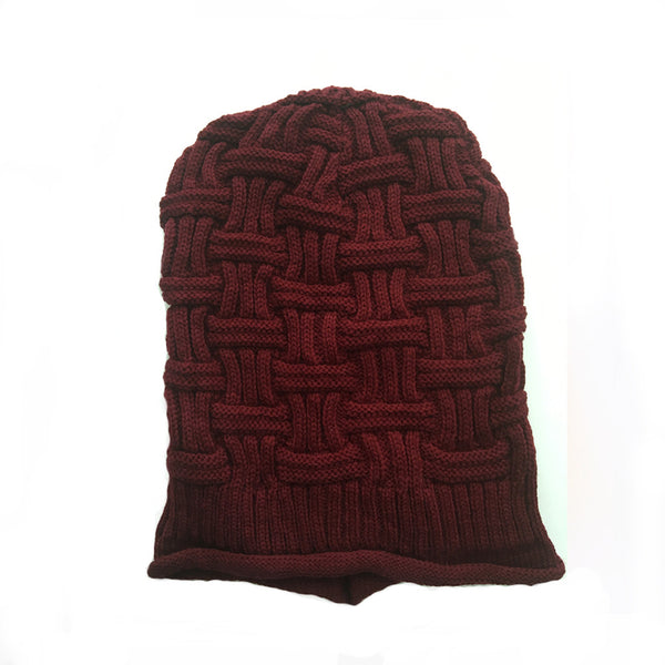 Hamee Maroon Knitted Slouchy Beanie - Hamee India