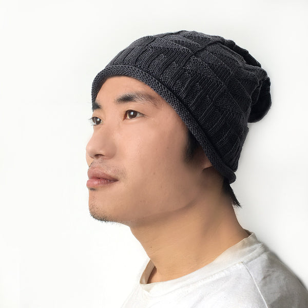 Hamee Grey Cross Knitted Slouch Beanie-Hamee India