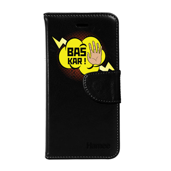 Hamee - Bas Kar - Premium PU Black Leather Flip Diary Type Cover for iPhone 6/6s