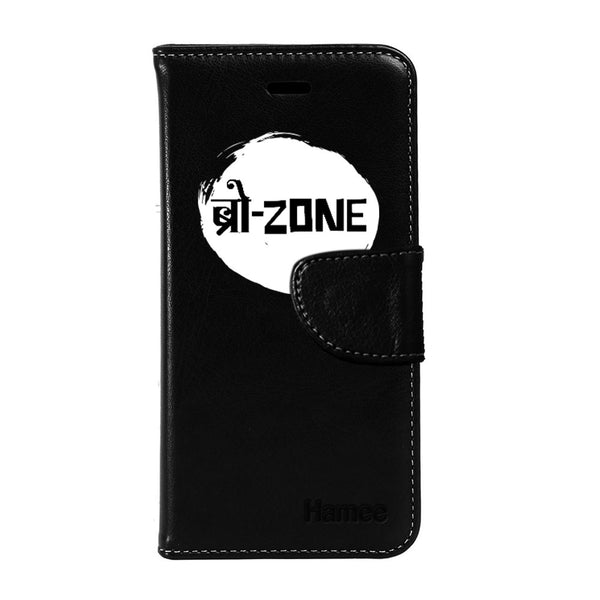 Hamee - Bro Zone - Premium PU Black Leather Flip Diary Type Cover for iPhone 6/6s
