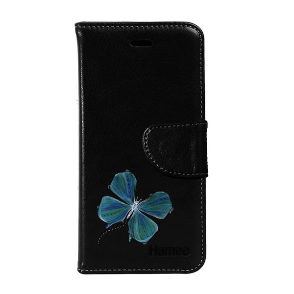 Hamee - Butterfly - Premium PU Black Leather Flip Diary Type Cover for iPhone 6/6s