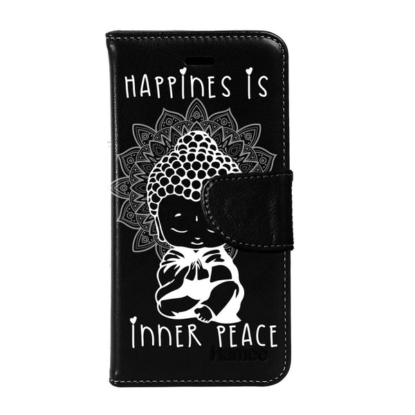 Hamee - Buddha Inner Peace - Premium PU Black Leather Flip Diary Type Cover for iPhone 6/6s