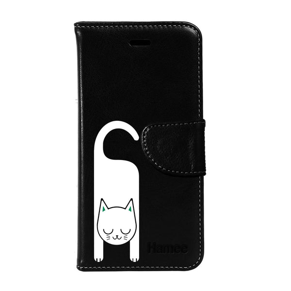 Hamee - Cat Hook - Premium PU Black Leather Flip Diary Type Cover for iPhone 6/6s