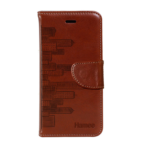 Hamee - City Life - Premium PU Brown Leather Flip Diary Type Cover for iPhone 7