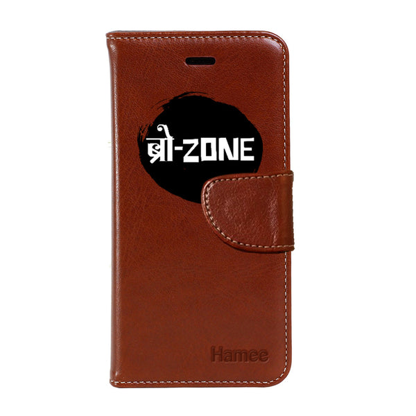 Hamee - Bro Zone - Premium PU Brown Leather Flip Diary Type Cover for iPhone 7