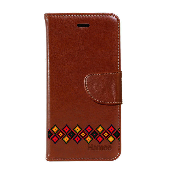 Hamee - Diamonds - Premium PU Brown Leather Flip Diary Type Cover for iPhone 7