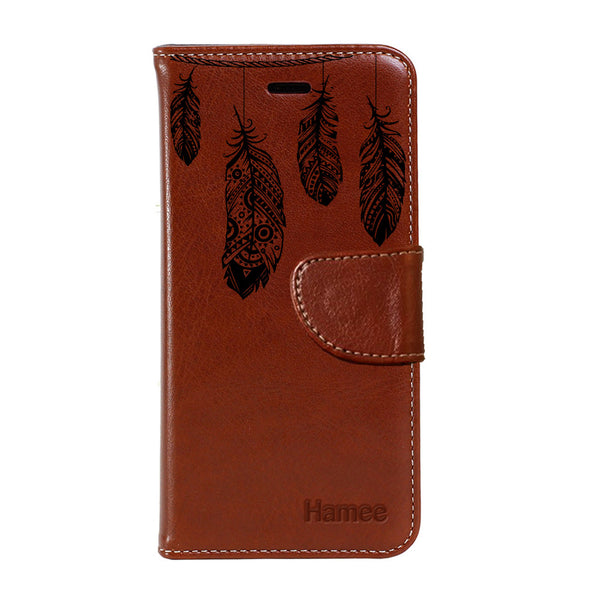 Hamee - Feathers - Premium PU Brown Leather Flip Diary Type Cover for iPhone 7