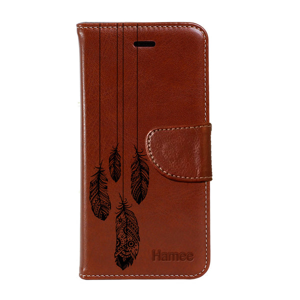 Hamee - Feather Hanging - Premium PU Brown Leather Flip Diary Type Cover for iPhone 7