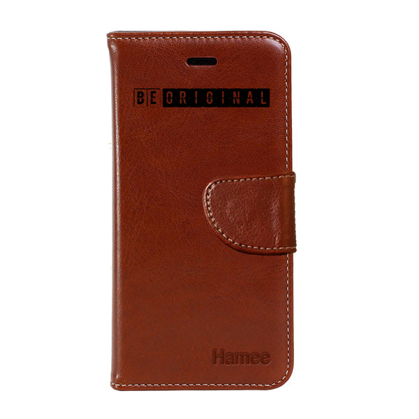 Hamee - Be Original - Premium PU Brown Leather Flip Diary Type Cover for iPhone 7