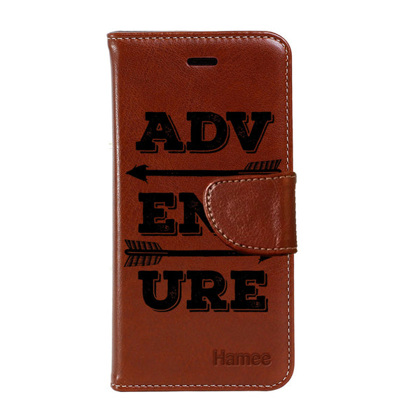 Hamee - Adventure - Premium PU Brown Leather Flip Diary Type Cover for iPhone 7